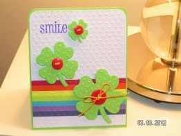 Happy St. Patrick's Day Card – Clovers with Rainbow Inspired Background